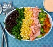 Composed Salad with Raw Sweet Corn, BBQ Salmon, and Chipotle Dressing