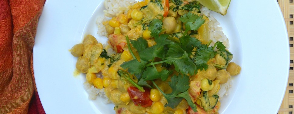 Curried chickpeas and corn