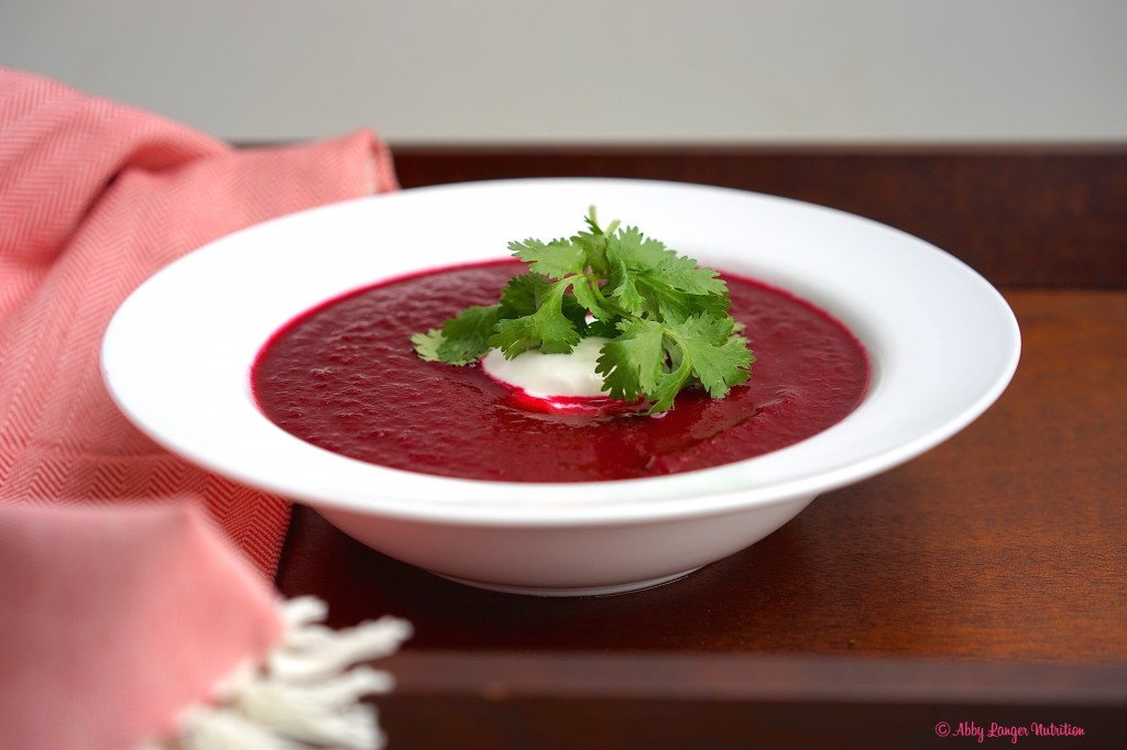 Warm the soup and serve, garnished with yogurt and cilantro.